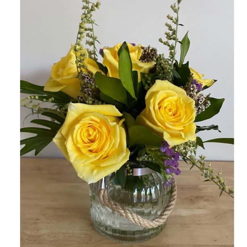 roses in glassware - half dozen